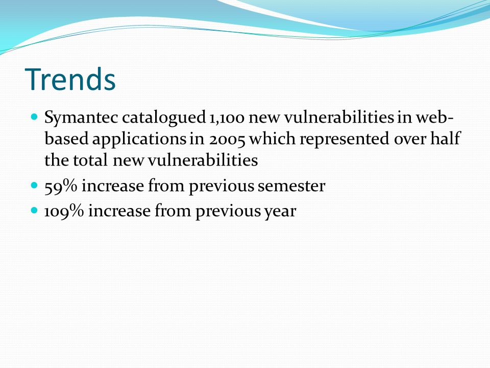 Trends Symantec catalogued 1,100 new vulnerabilities in web-based applications in 2005 which represented over half the total new vulnerabilities.