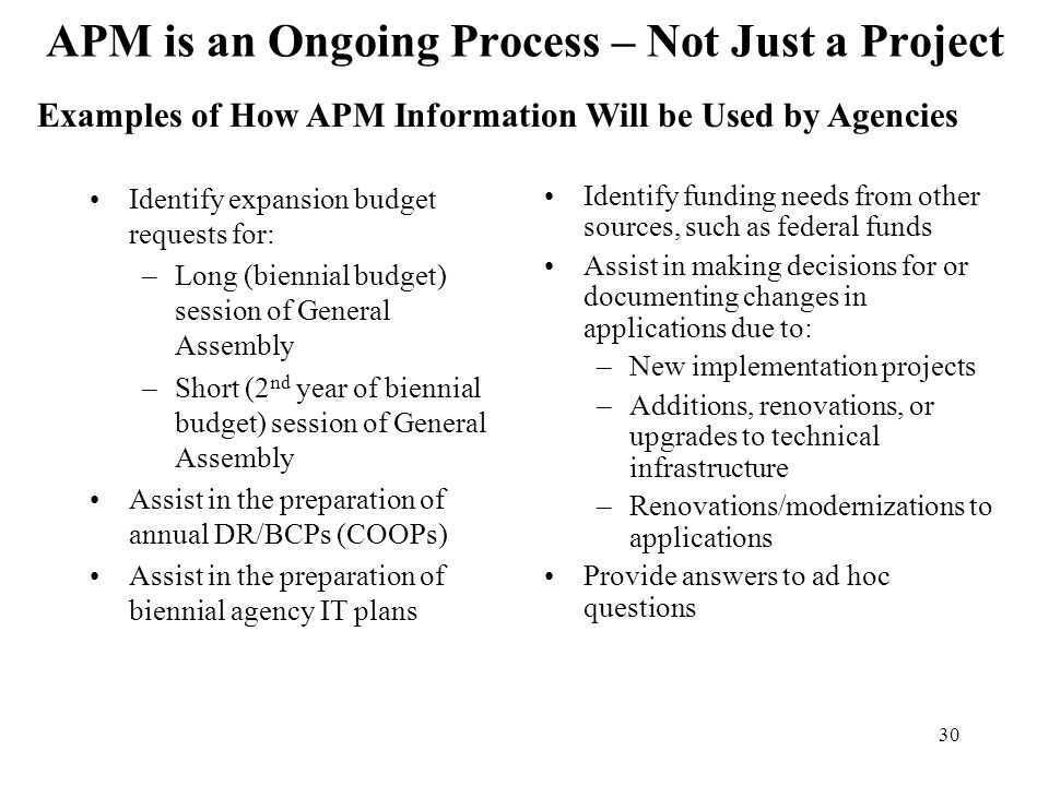 APM is an Ongoing Process – Not Just a Project