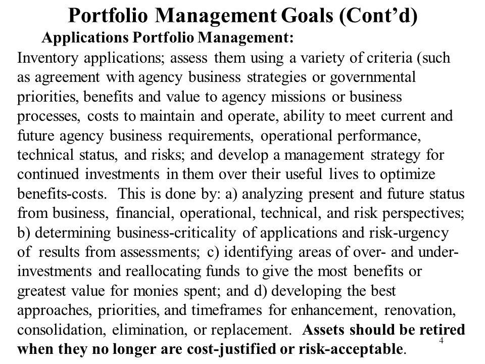 Portfolio Management Goals (Cont'd)