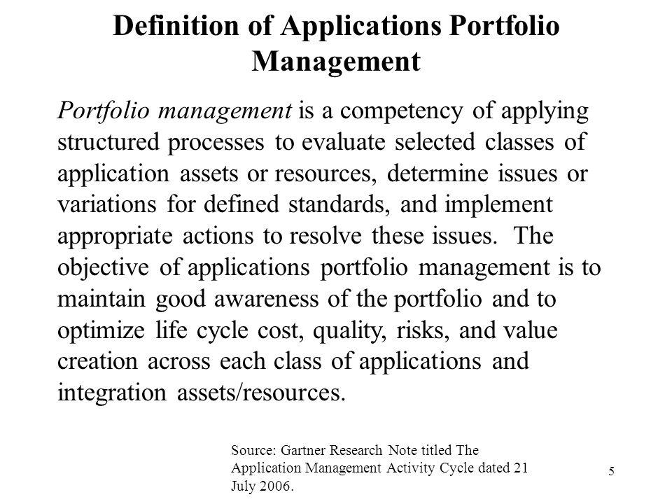 Definition of Applications Portfolio Management
