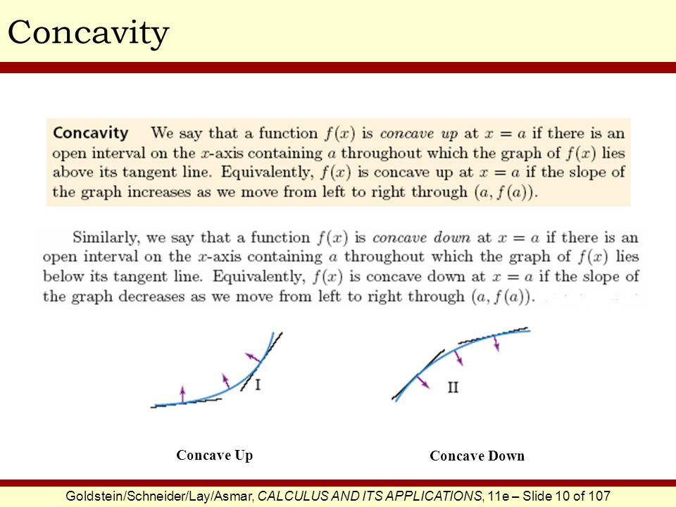 Concavity Concave Up Concave Down