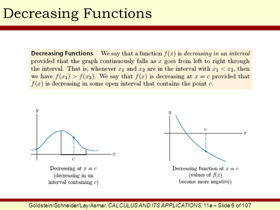 Decreasing Functions