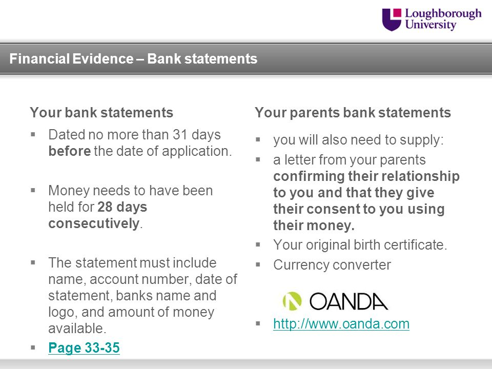 Financial Evidence – Bank statements