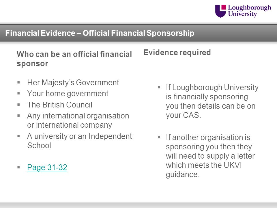 Financial Evidence – Official Financial Sponsorship