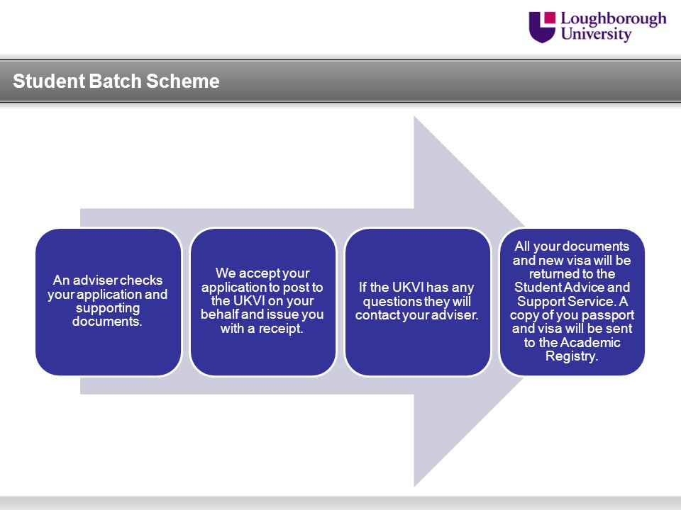 Student Batch Scheme An adviser checks your application and supporting documents.