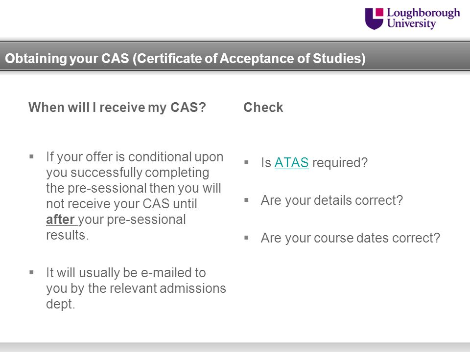 Obtaining your CAS (Certificate of Acceptance of Studies)