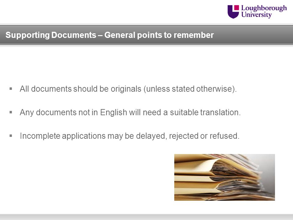 Supporting Documents – General points to remember