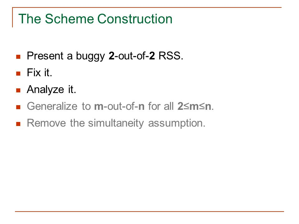 The Scheme Construction