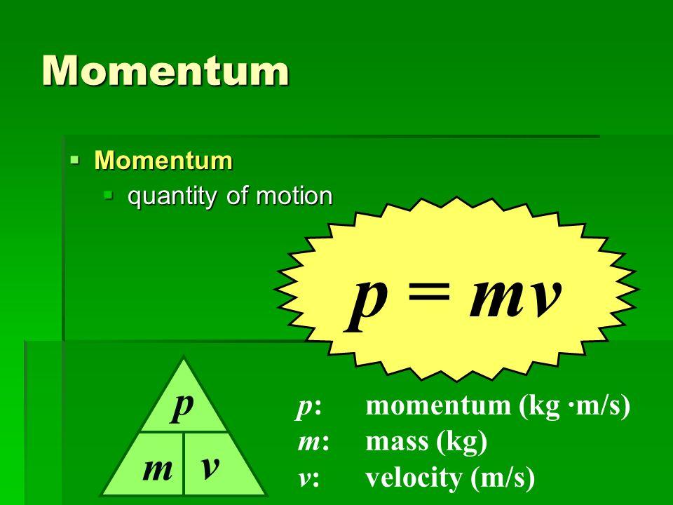 p = mv v Momentum p m p: momentum (kg ·m/s) m: mass (kg)