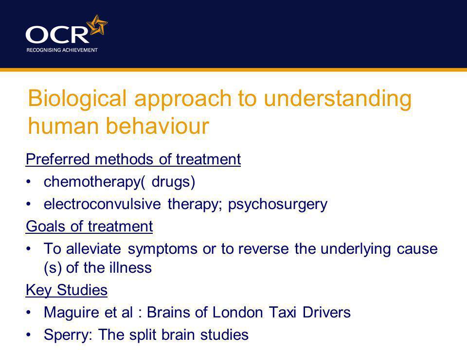 Biological approach to understanding human behaviour
