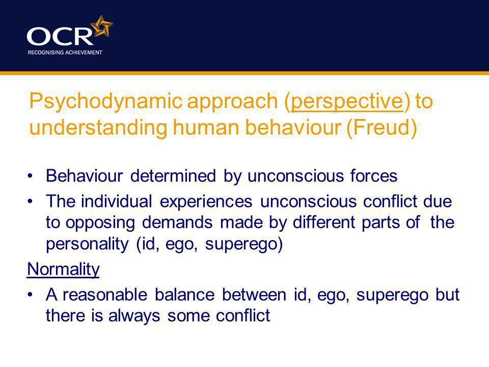 Psychodynamic approach (perspective) to understanding human behaviour (Freud)