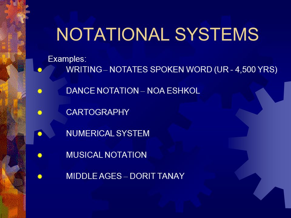 NOTATIONAL SYSTEMS Examples: