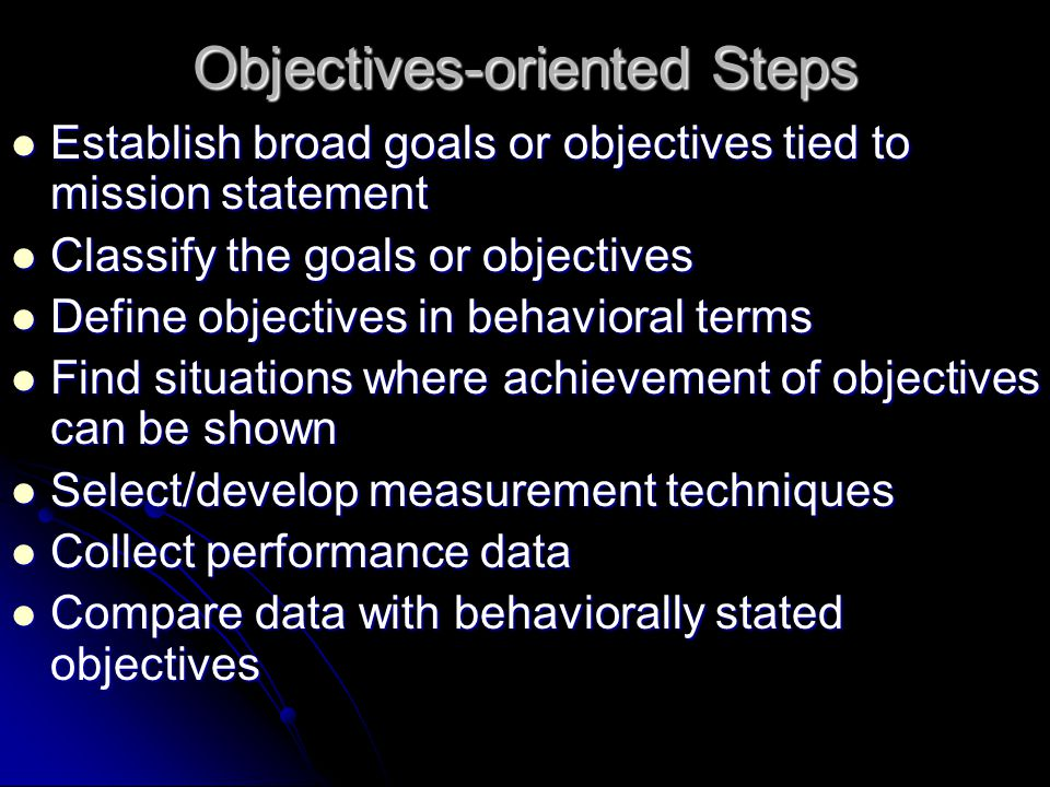 Objectives-oriented Steps