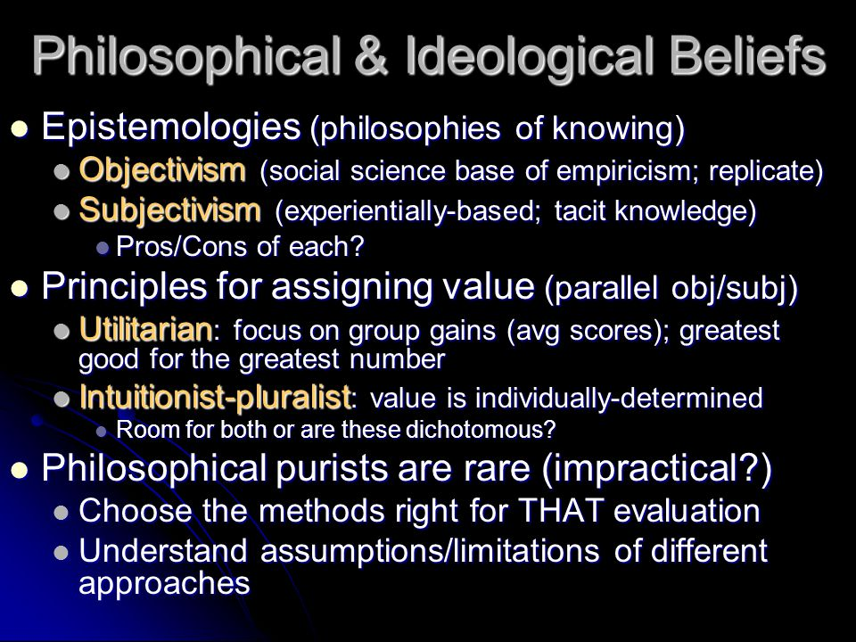 Philosophical & Ideological Beliefs