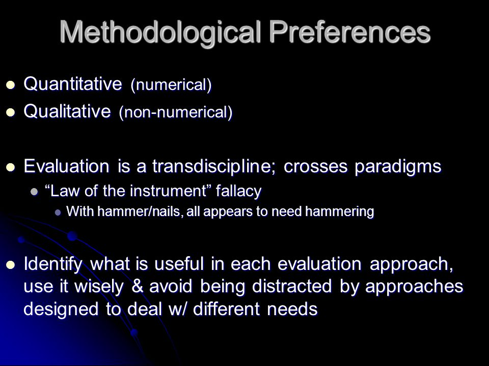 Methodological Preferences