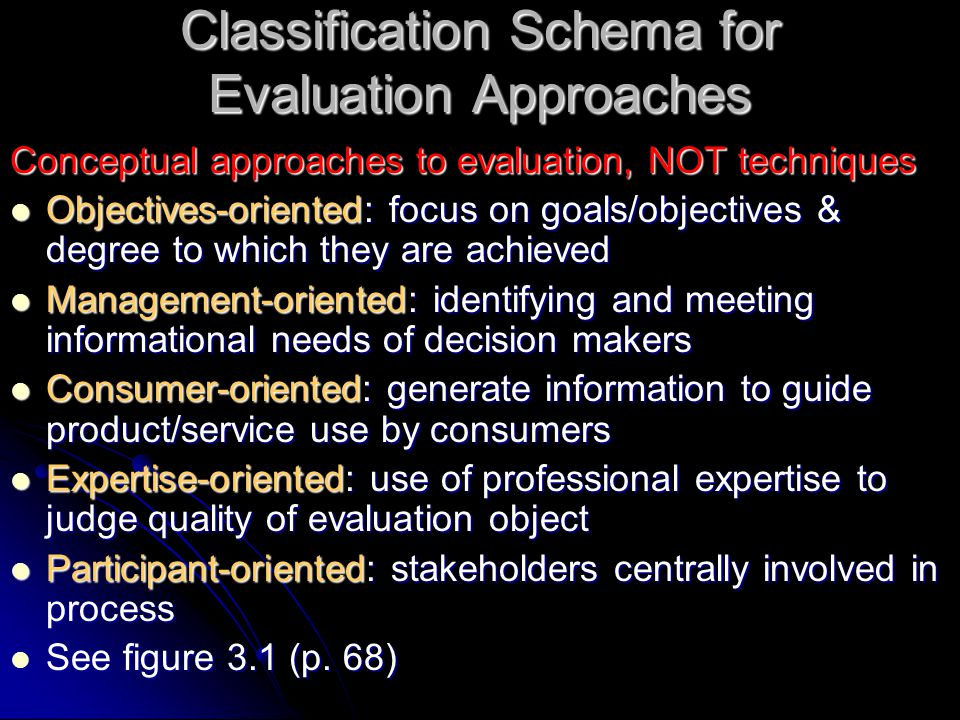 Classification Schema for Evaluation Approaches