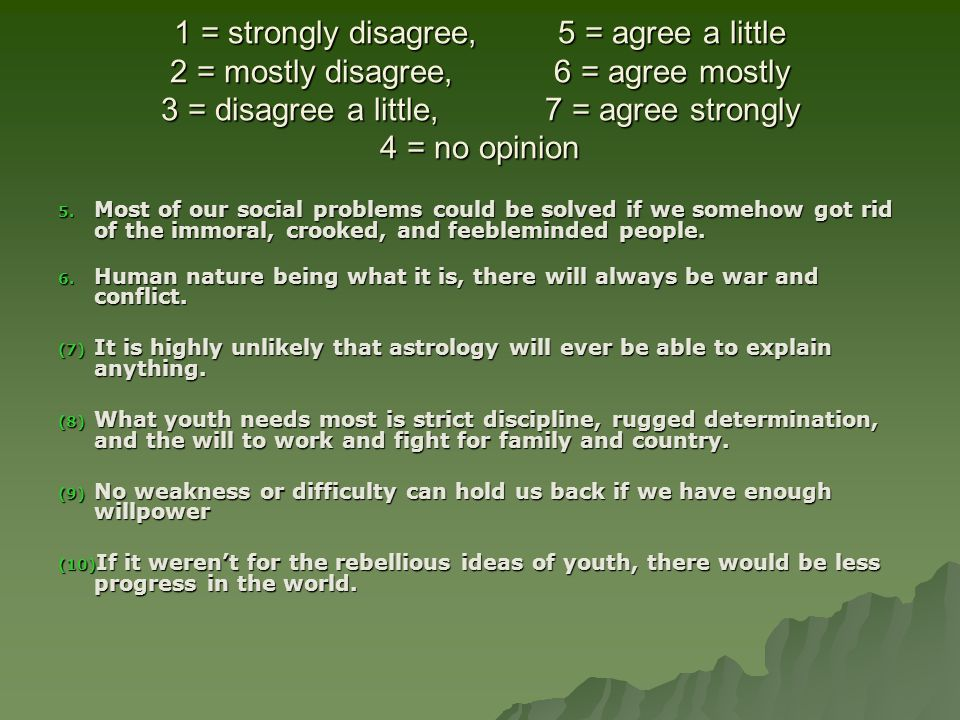 1 = strongly disagree,. 5 = agree a little 2 = mostly disagree,