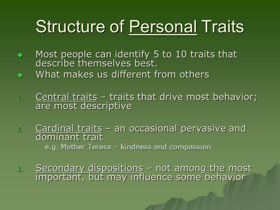 Structure of Personal Traits