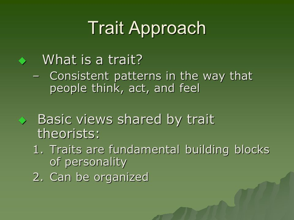 Trait Approach What is a trait Basic views shared by trait theorists: