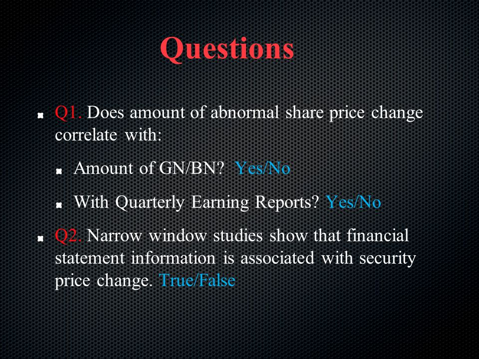 Questions Q1. Does amount of abnormal share price change correlate with: Amount of GN/BN Yes/No.