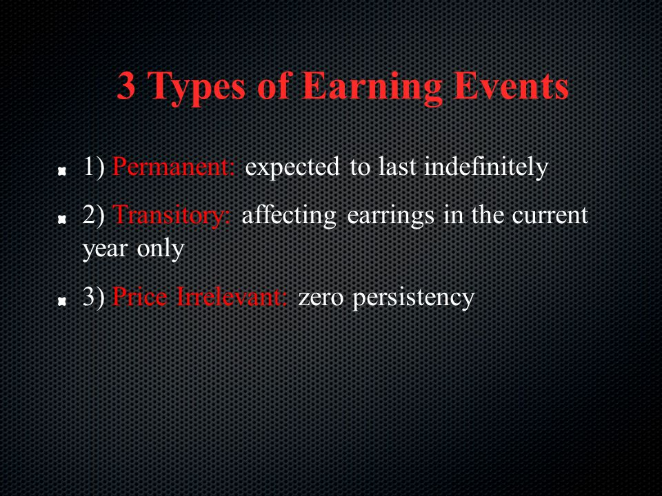 3 Types of Earning Events