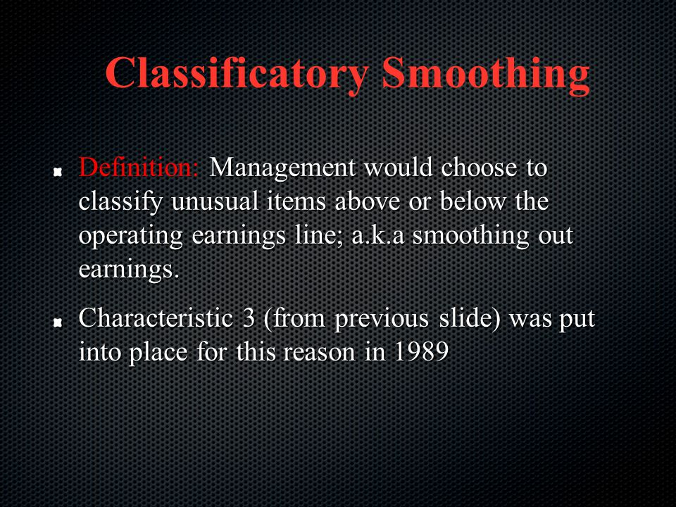 Classificatory Smoothing