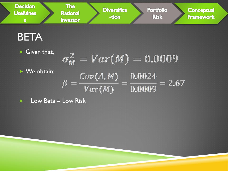 BETA Given that, We obtain: Low Beta = Low Risk Decision Usefulness