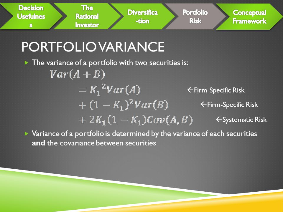 Portfolio Variance The variance of a portfolio with two securities is: