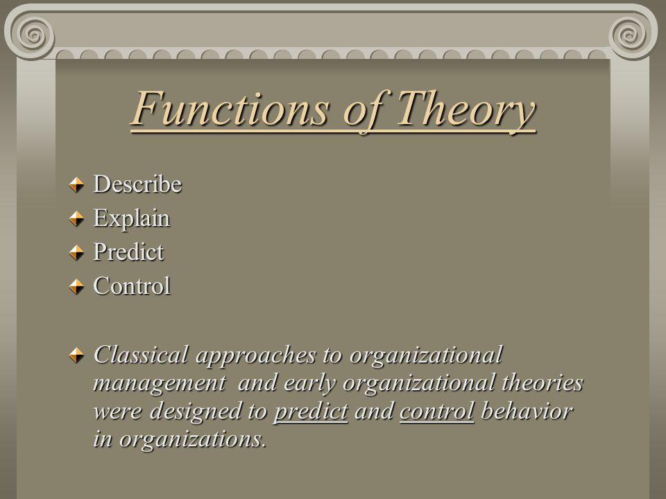 Functions of Theory Describe Explain Predict Control