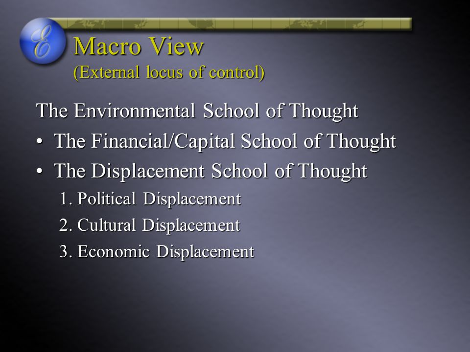 displacement school of thought A clinical study of displacement of lens  another school of thought is that the hazards of removing a displaced lens outweigh the benefits in most.
