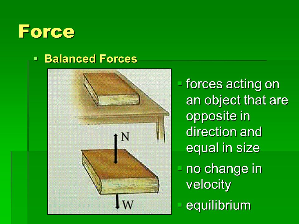 Force Balanced Forces. forces acting on an object that are opposite in direction and equal in size.