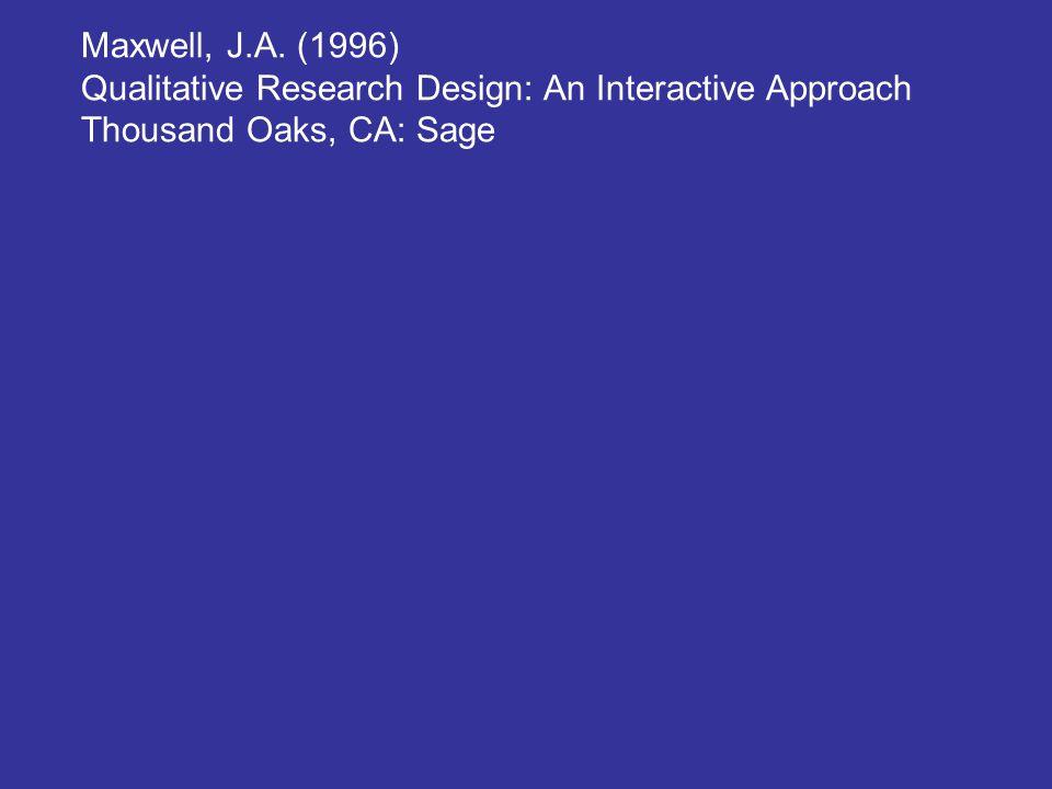 Maxwell, J.A. (1996) Qualitative Research Design: An Interactive Approach Thousand Oaks, CA: Sage