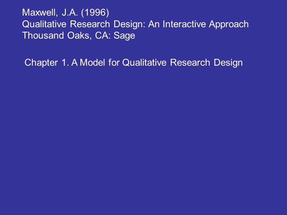 Maxwell, J.A. (1996) Qualitative Research Design: An Interactive Approach. Thousand Oaks, CA: Sage.