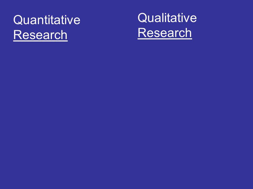 Qualitative Research Quantitative Research