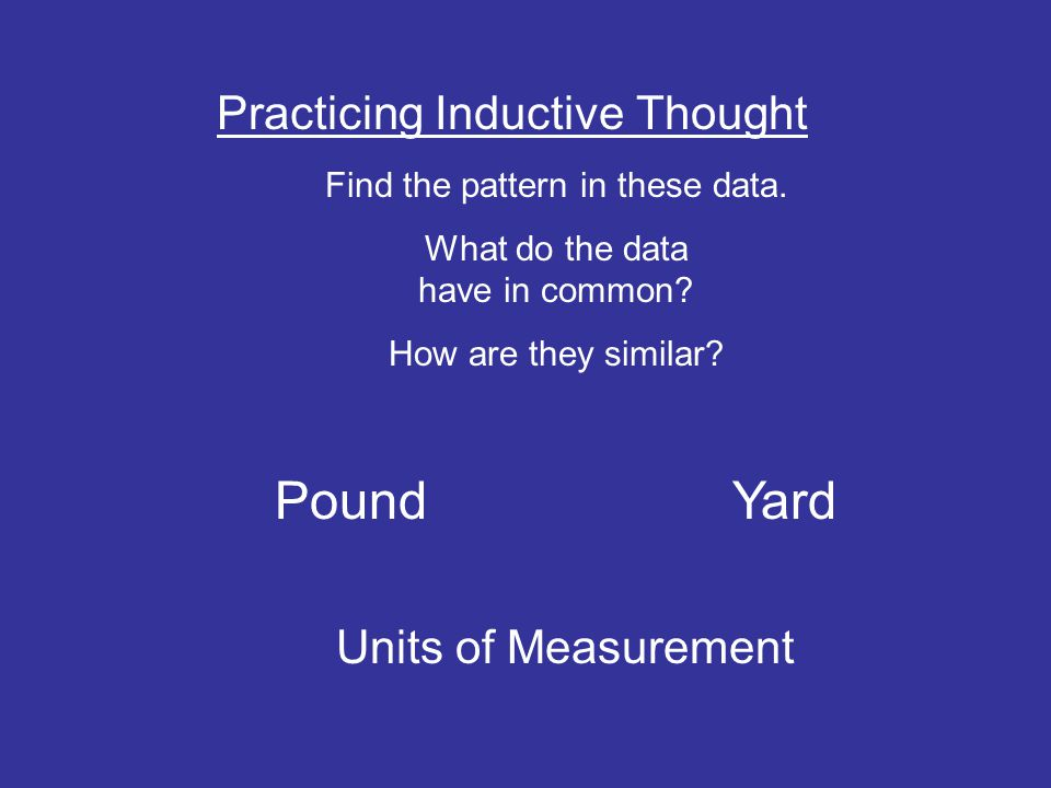 Pound Yard Practicing Inductive Thought Units of Measurement