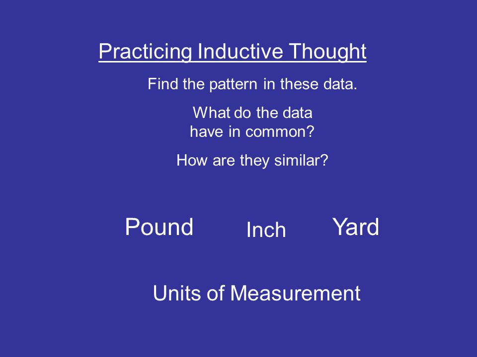Pound Yard Practicing Inductive Thought Inch Units of Measurement