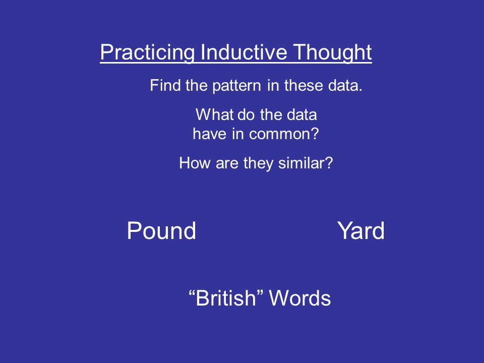 Pound Yard Practicing Inductive Thought British Words