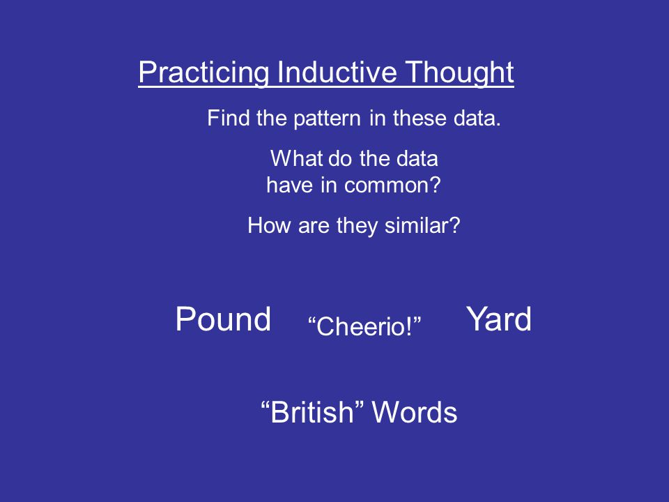 Pound Yard Practicing Inductive Thought British Words Cheerio!