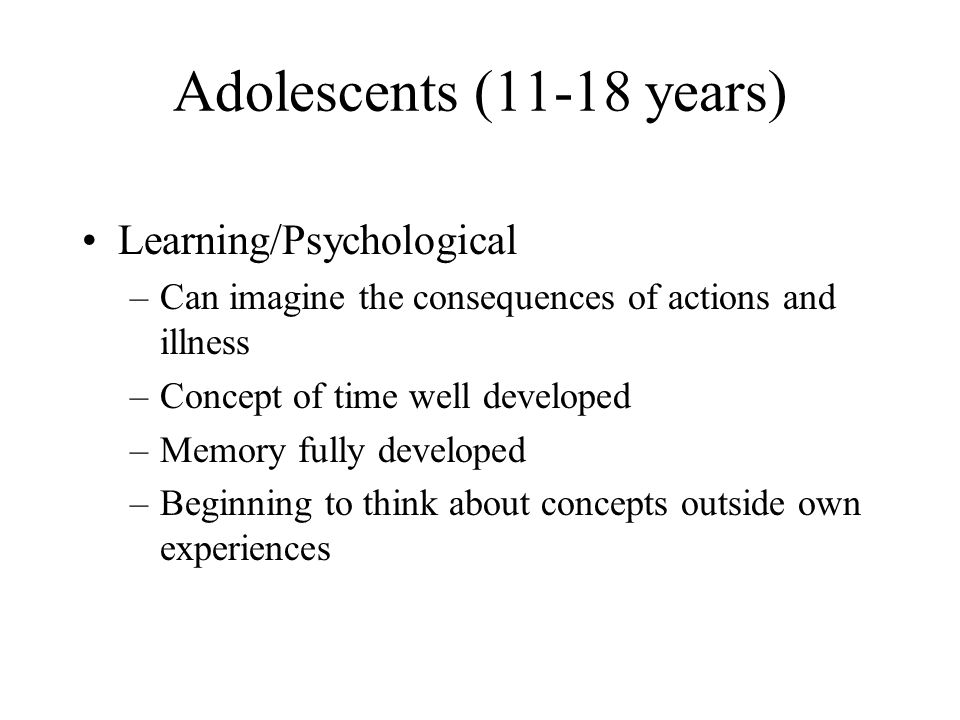 Adolescents (11-18 years) Learning/Psychological