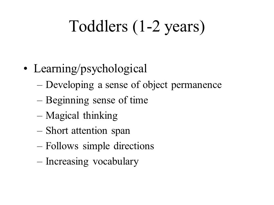 Toddlers (1-2 years) Learning/psychological
