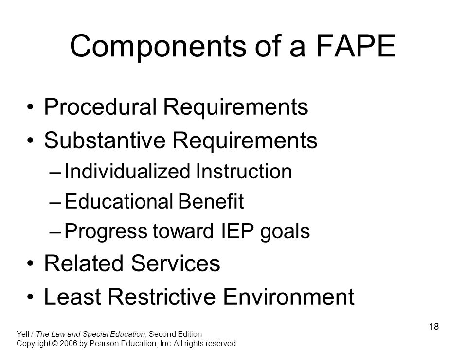 Components of a FAPE Procedural Requirements Substantive Requirements
