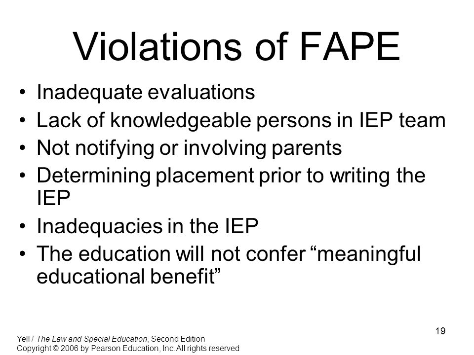 Violations of FAPE Inadequate evaluations