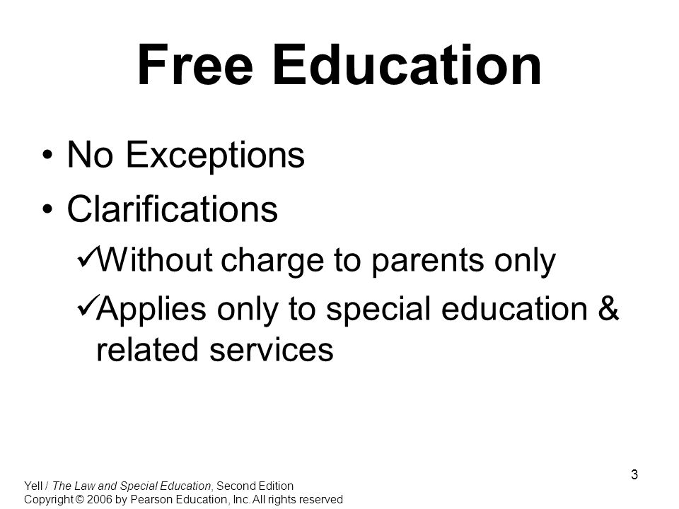 Free Education No Exceptions Clarifications
