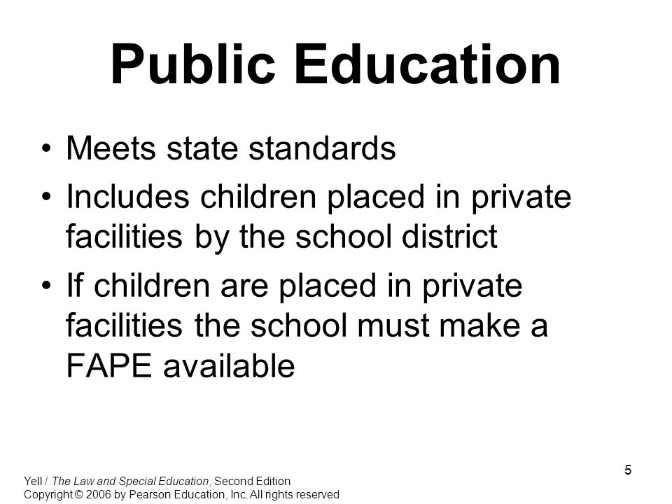 Public Education Meets state standards