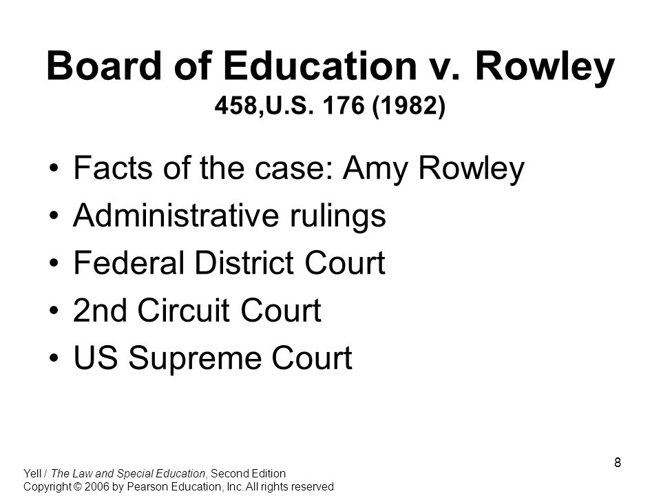 Board of Education v. Rowley 458,U.S. 176 (1982)