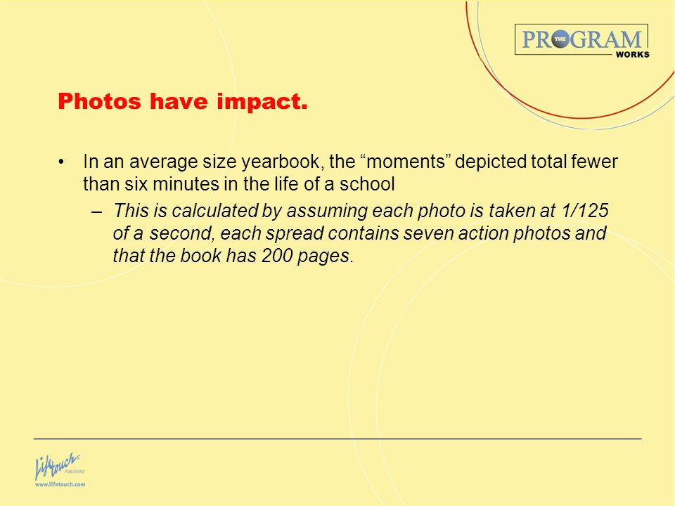 Photos have impact. In an average size yearbook, the moments depicted total fewer than six minutes in the life of a school.