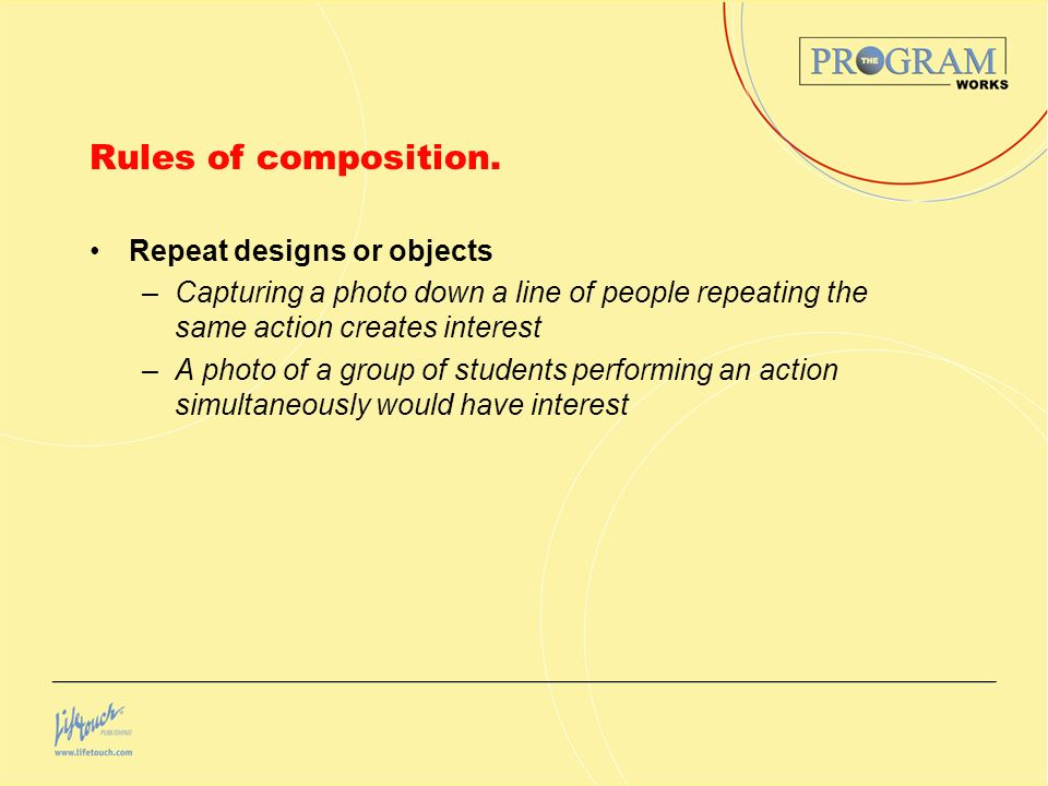 Rules of composition. Repeat designs or objects