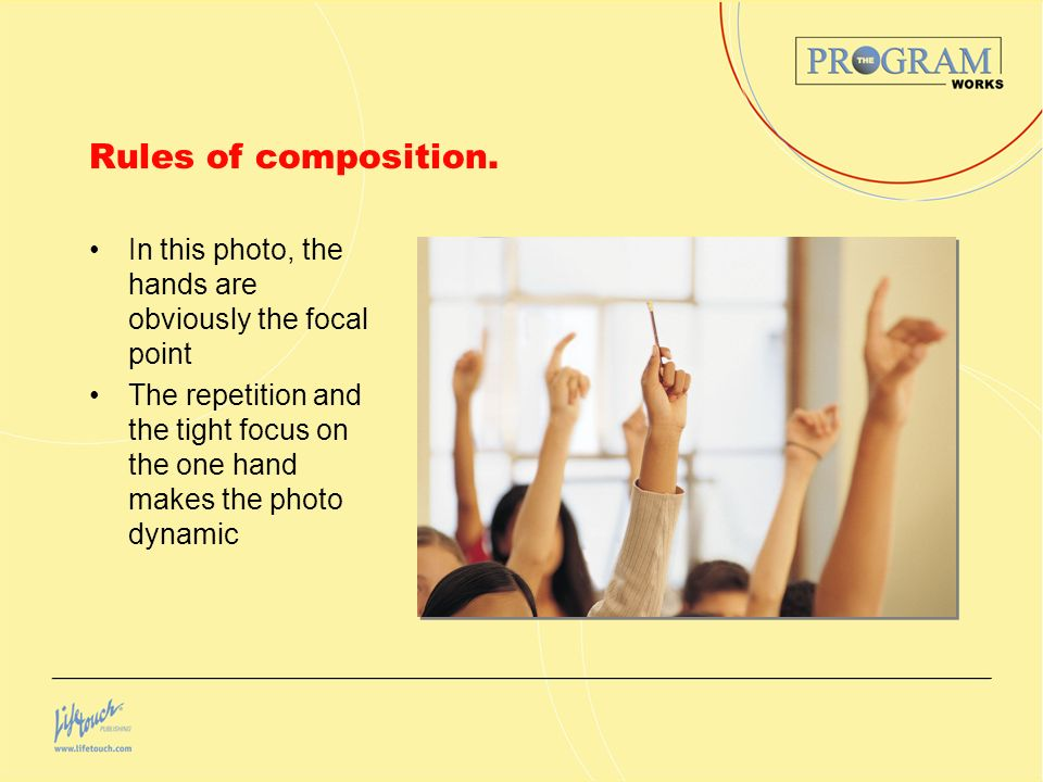 Rules of composition. In this photo, the hands are obviously the focal point.