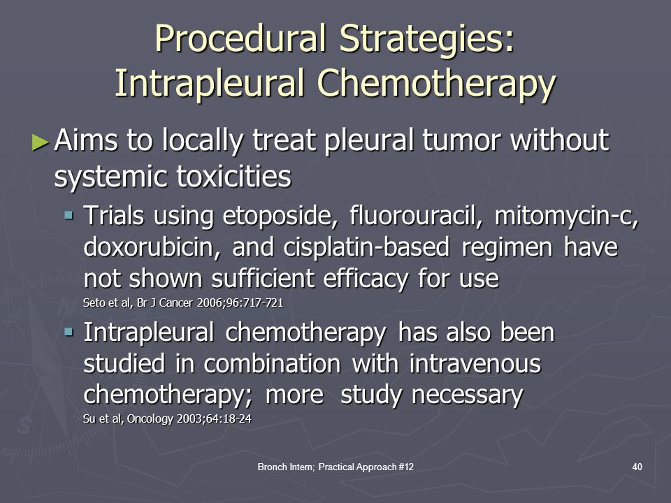 Procedural Strategies: Intrapleural Chemotherapy