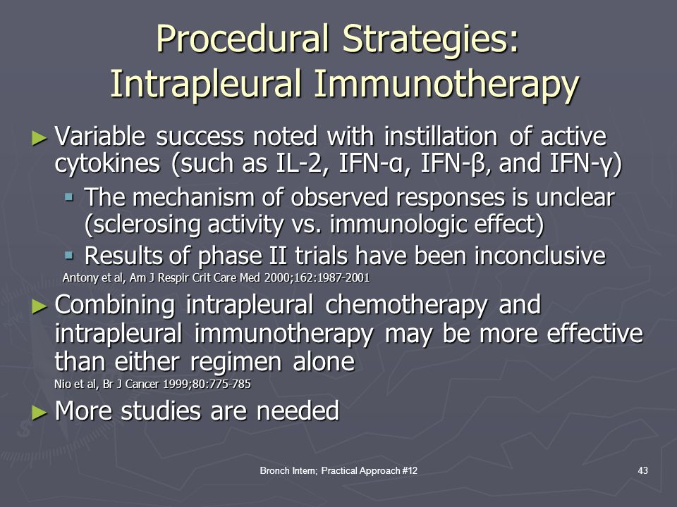 Procedural Strategies: Intrapleural Immunotherapy